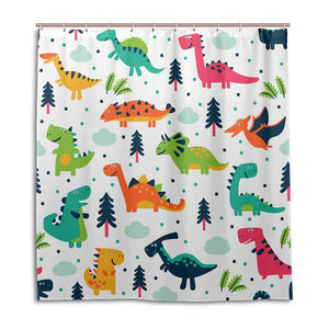 Silly Decorative Cartoon Dinosaurs Shower Curtains - DinoGoods