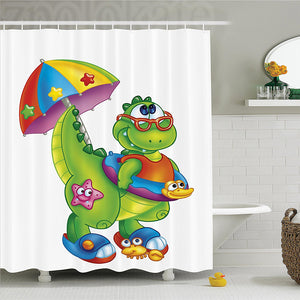 T-Rex On The Beach Shower Curtain - Dinosaur Themed Gifts & Accessories