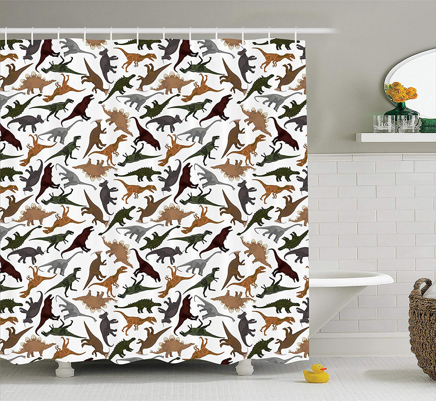 Jurassic Shower Curtain Pattern With Dinosaurs - Dinosaur Themed Gifts & Accessories