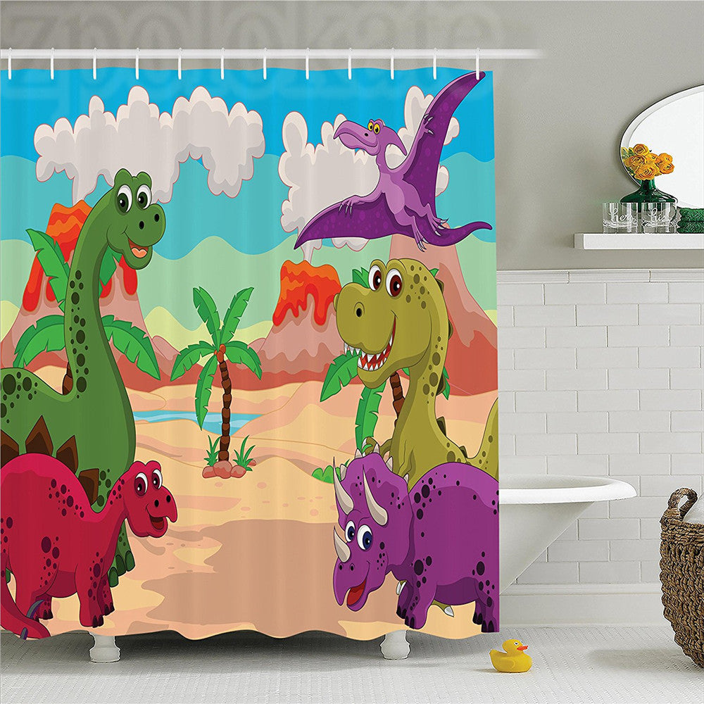Happy Jurassic Dinosaur Cartoon Shower Curtain - Dinosaur Themed Gifts & Accessories