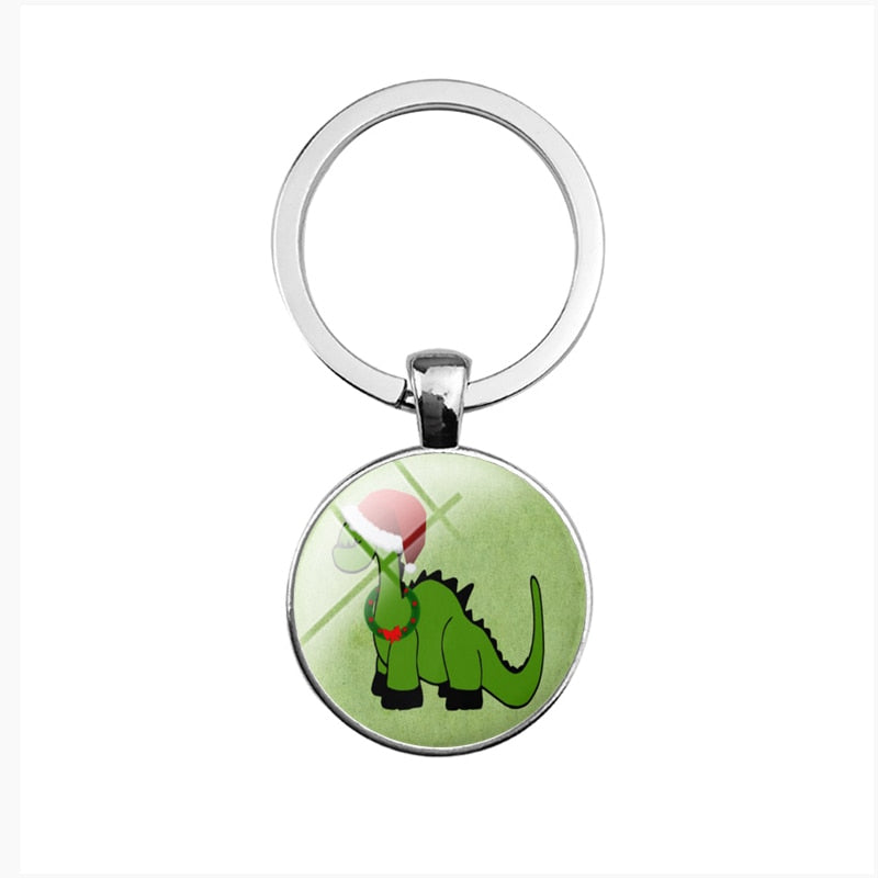 Cute Christmas Cartoon Dinosaur Keyrings - Dinosaur Themed Gifts & Accessories