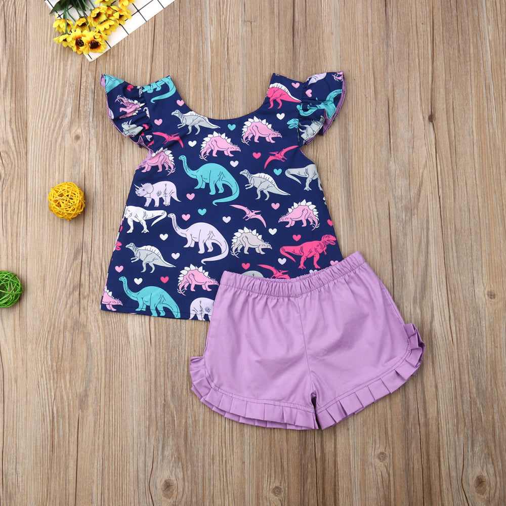 Playful Sleeveless Ruffle Dinosaur Outfit