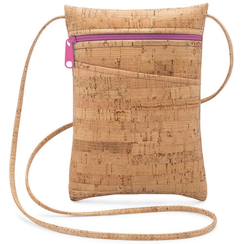 Cork Mini Cross Body Bag | Fuchsia Zipper