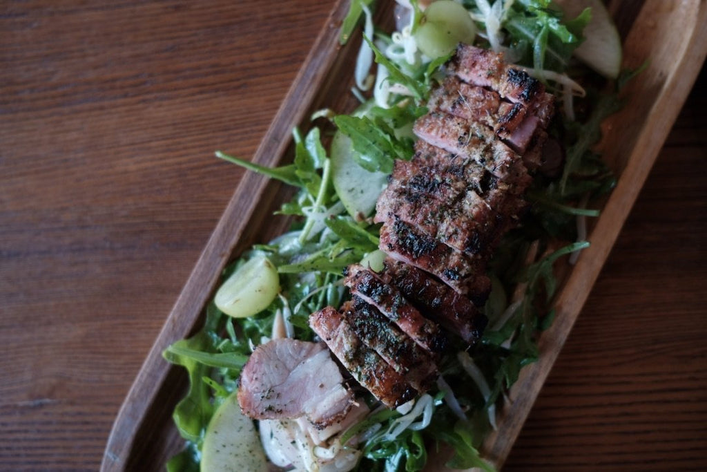 Delicious roasted porkchop salad, Thai lemongrass salad on Monday