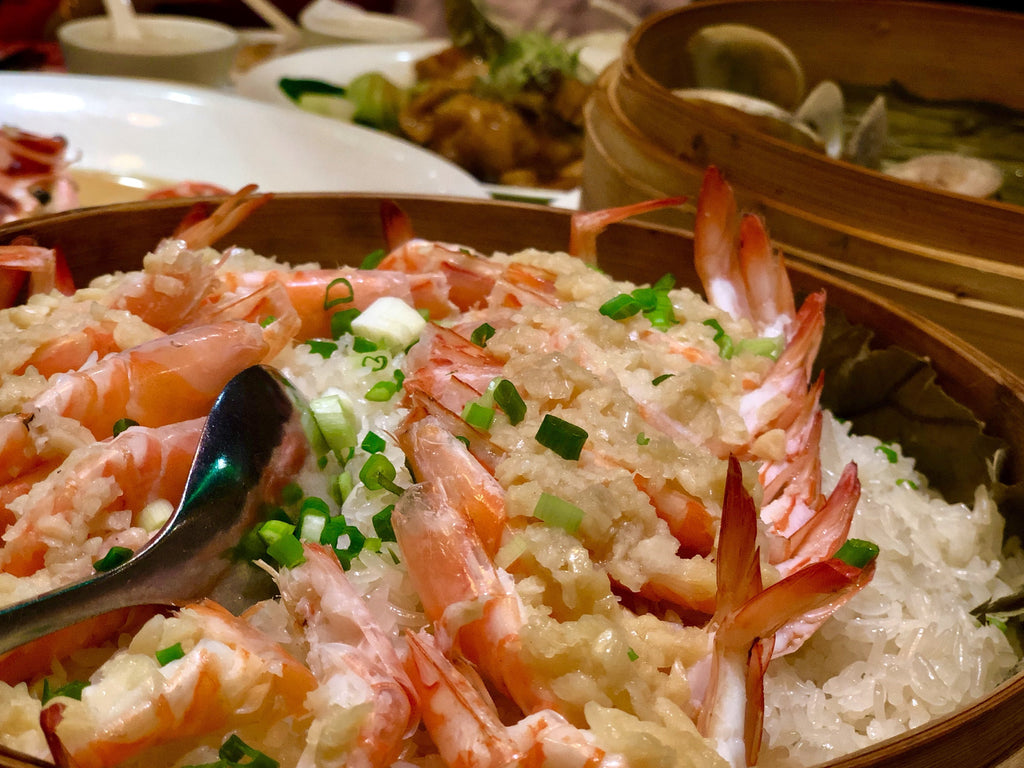 Steam Prawns over Glutinous Rice Recipe