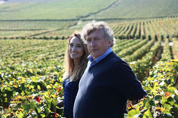 Auriane Denis and Lucien Collard in the vineyard of Champagne