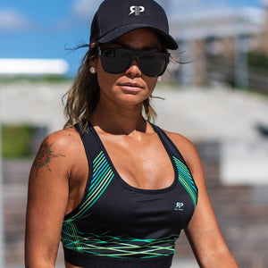 Olivia Active Sport Bra - Black/Green