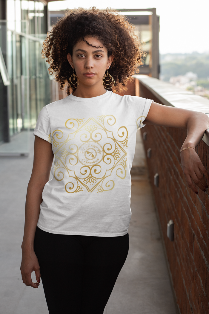 "Fran Rubi collection: Womens casual fit Cotton  T shirt with a  quote ""Sigue Tus Sueños""  MADE TO ORDER"