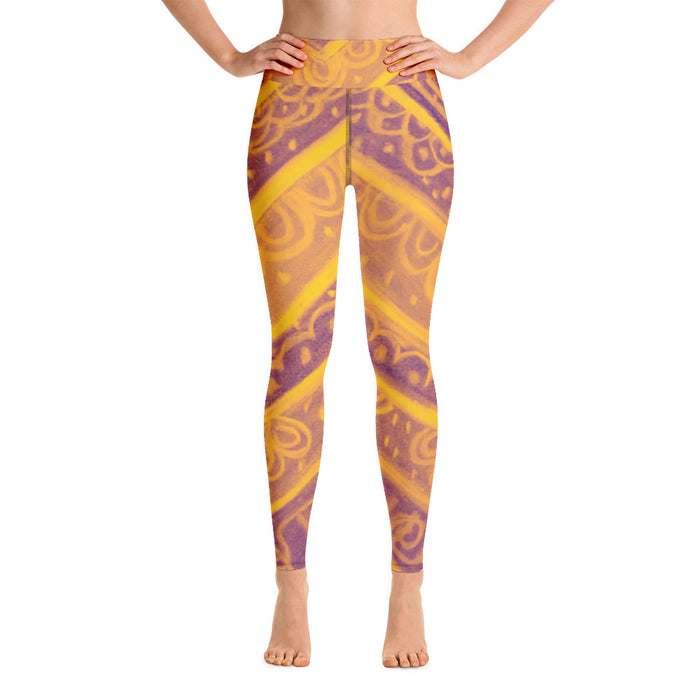Anna Collection: High waist leggings with a  floral tribal pattern. MADE TO ORDER