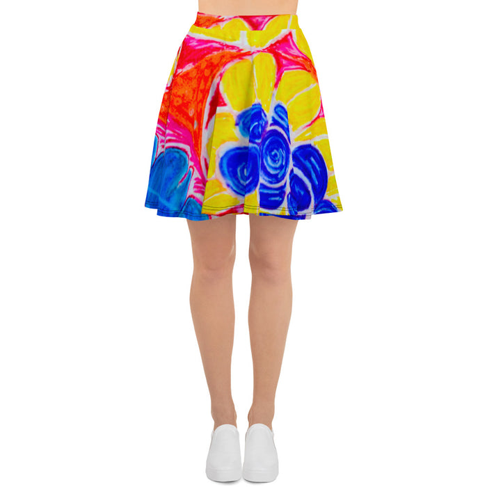 Barcelona beachstyle skirt, with an Eldragonfly print: Natalina Collection -Mediterranean flowers
