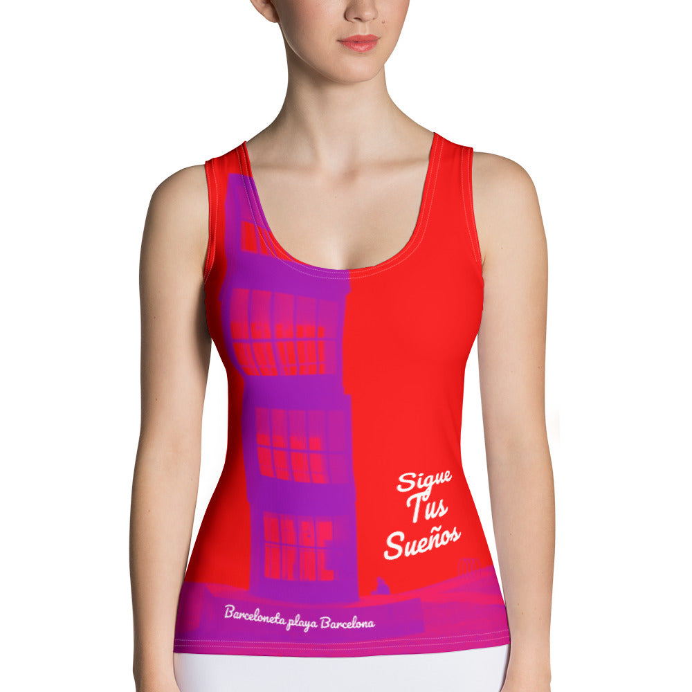 Barcelona beach print ,Women´s vest top: Barceloneta beach  Collection-Red - Eldragonfly Barcelona