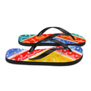 Ava Collection : Barcelona beach and surf style flipflops with a rainbow tribal design . MADE TO - Eldragonfly Barcelona