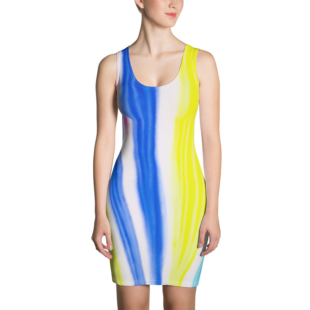 Señora Maria Florencia del  Mar Collection: Blue and yellow fitted summer dress . MADE TO ORDER