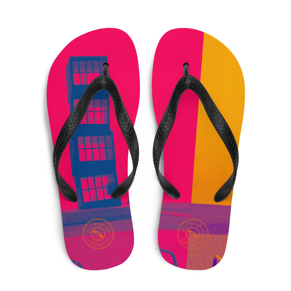 Pop art Barceloneta flip flops -pink and yellow