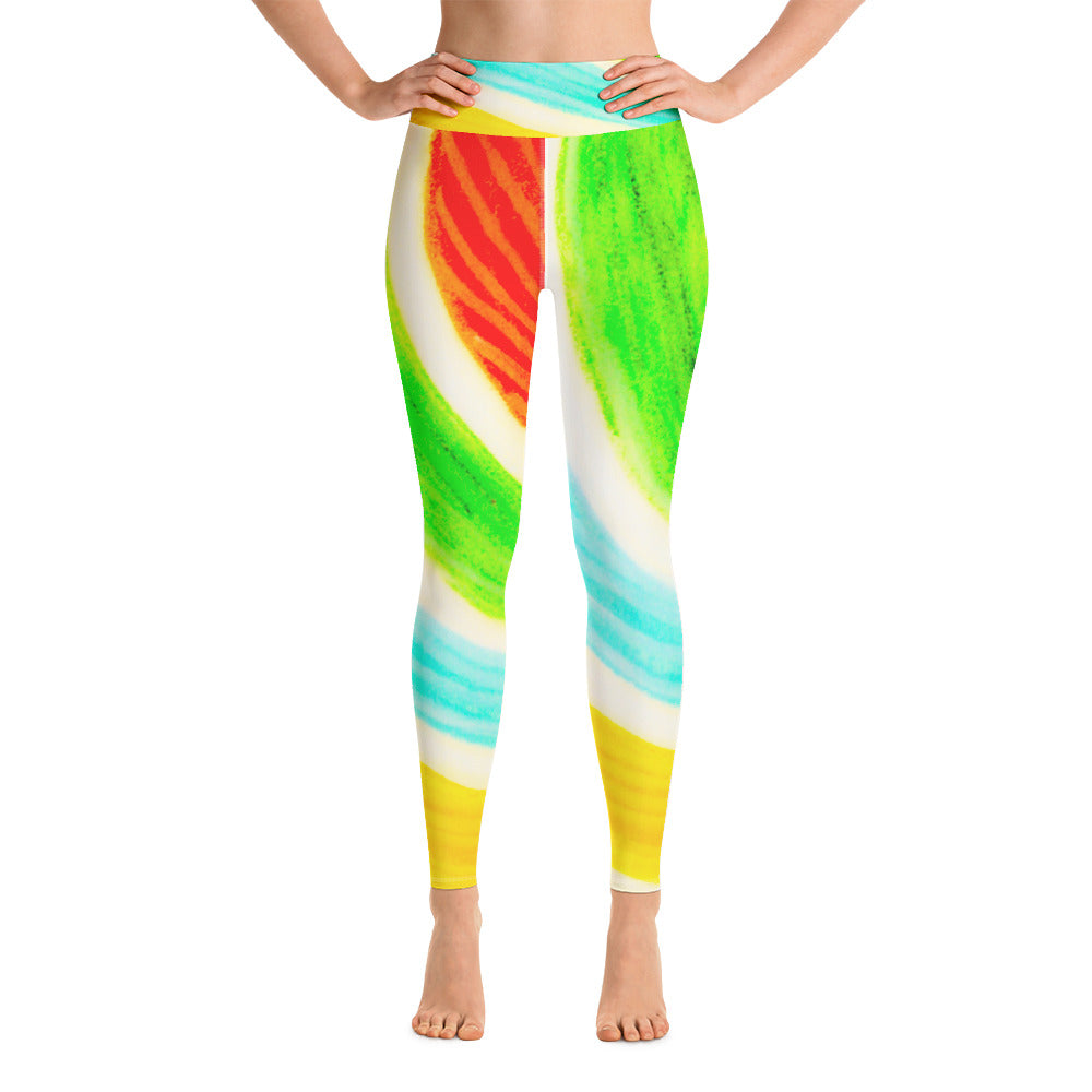 Señora Rosa  Collection: High waist colourful spiral style leggings. Made to Order - Eldragonfly Barcelona