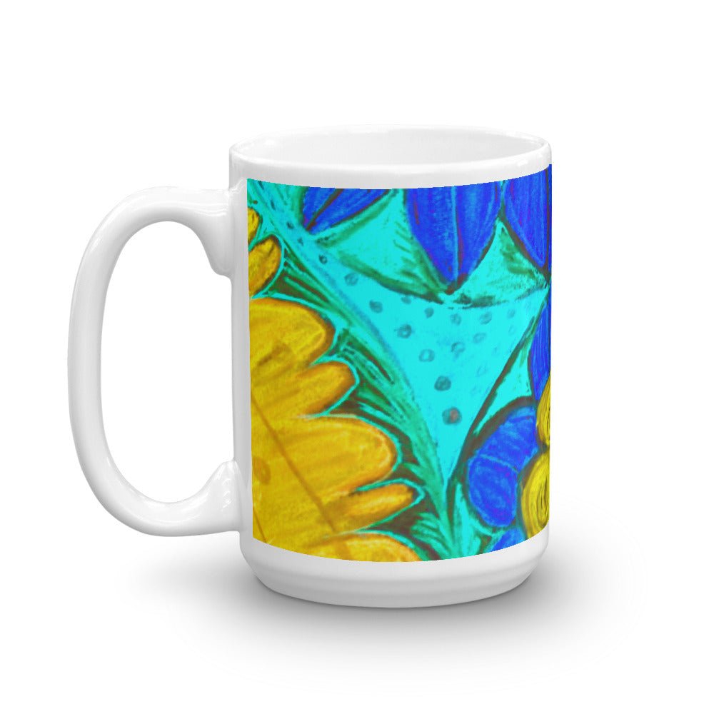 Blue Mediterranean flower Collection mug - Eldragonfly Barcelona