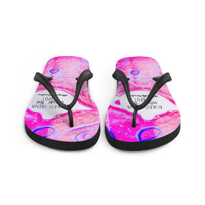 "Happy flip flop Collection :Barcelona beachstyle pink flip flops ""Always think outside the teapot"" MADE TO ORDER - Eldragonfly Barcelona"