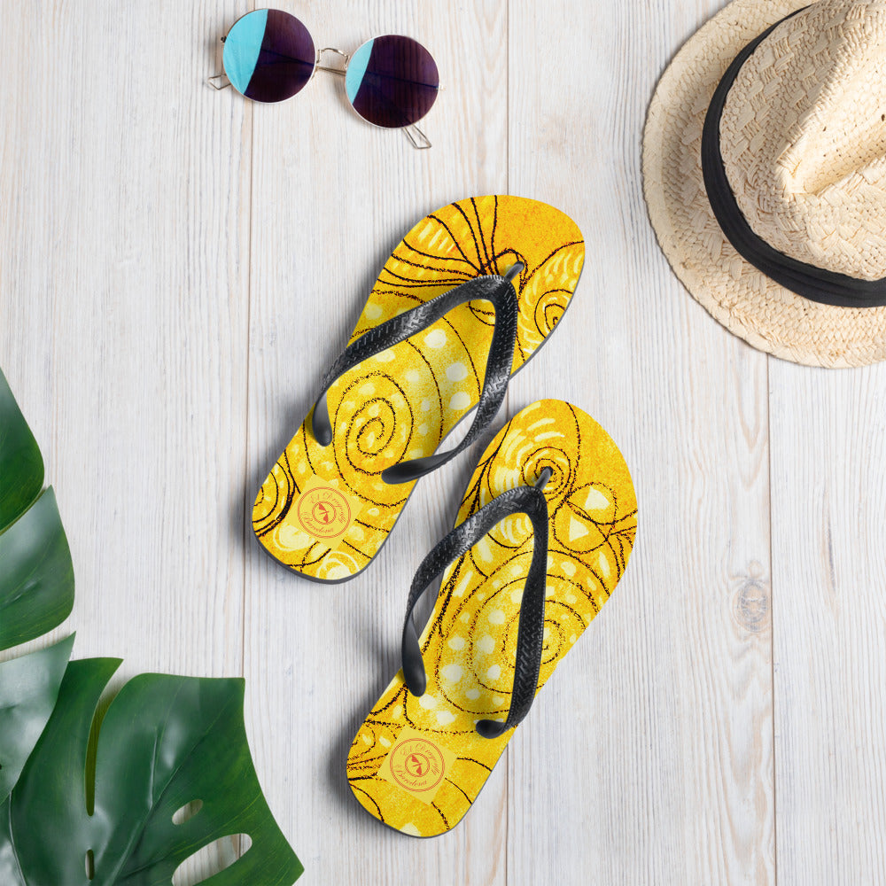 Eldragonfly Flip-Flops : Mediterranean  Sea monster Collection - Yellow - Eldragonfly Barcelona