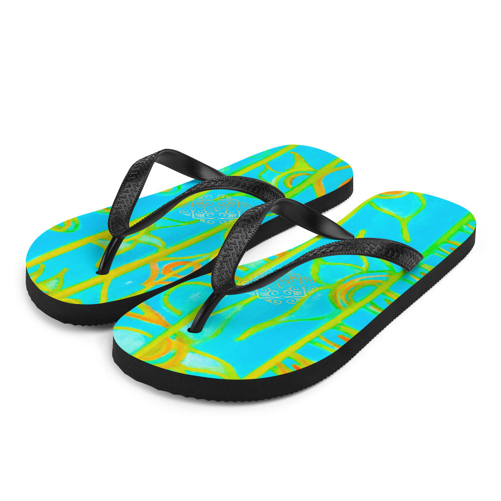 Barcelo Collection:  Barcelona beach style Med. flip flops. ( Turquoise)  Made to order