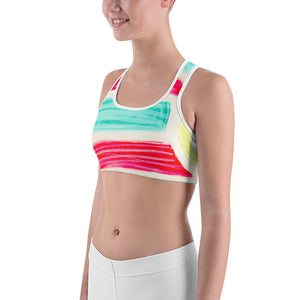 Gracia Collection: Womens sports, surf fasion bra, with blue, pink and white. MADE TO ORDER - Eldragonfly Barcelona