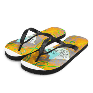 Barcelona beachstyle Flip-Flops : Always think outside the teapot: Yellow and Grey - Eldragonfly Barcelona
