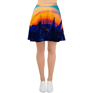 Barcelon beach style , Womens skirts , an exclusive Eldragonfly print design  :Parc Güell Collection - Eldragonfly Barcelona