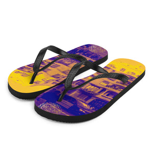 La Pedrera yellow rubber flip flops , designed by Eldragonfly Barcelona