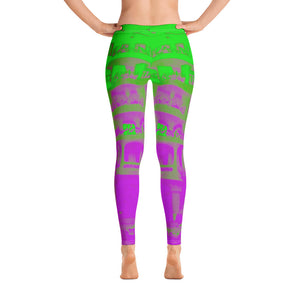La Pedera Collection : Low waist green and purple  leggings - Eldragonfly Barcelona