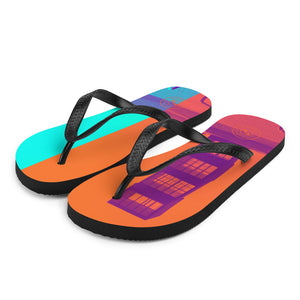 Pop art Barceloneta flip flops -Orange and blue
