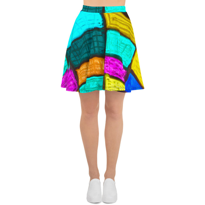 Señora  Ferrer Collection : Womens short skirt, with a colourful art print. MADE TO ORDER