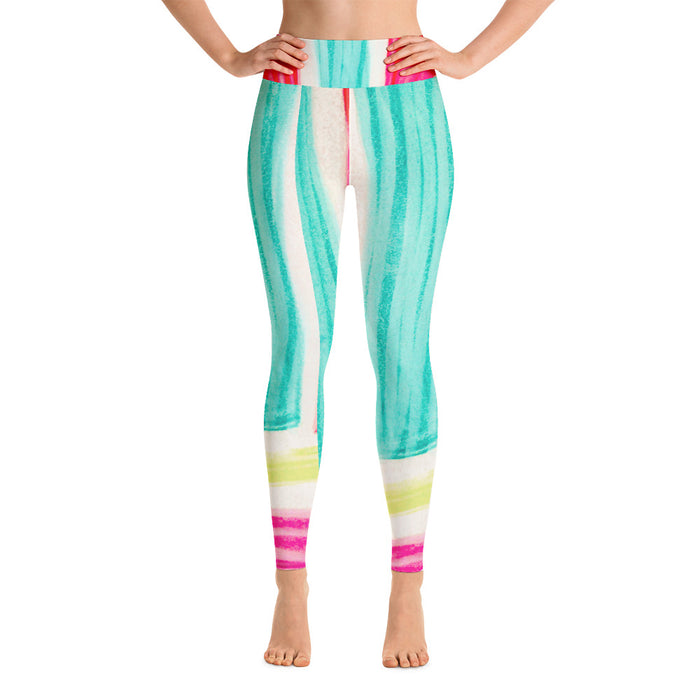 Señora Marti Collection: High waist, white , yellow and pink  leggings. MADE TO ORDER