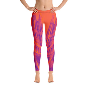 Barcelona beach style leggings , perfect for sports,  and beach life . Sagrada Familia Collection- Orange - Eldragonfly Barcelona