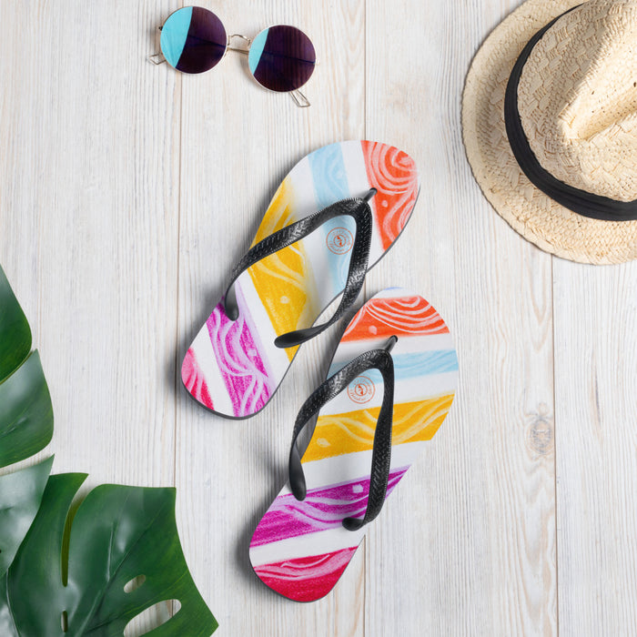 Julia del a Mar Collection: Four Colour tribal patterned design flip flops. (numero 6) MADE TO ORDER