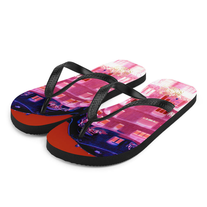 La pedrera  Collection: Barcelona style flip flops, pink and blue digital print.