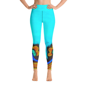 Womens Yoga  Leggings with an exclusive  Barcelona beachstyle  :Emelda  Collection - Blue - Eldragonfly Barcelona