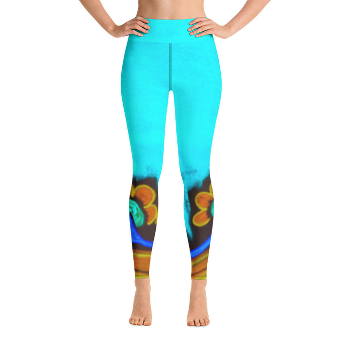 Womens Yoga  Leggings with an exclusive  Barcelona beachstyle  :Emelda  Collection - Blue