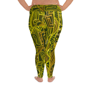 Barcelona beachstyle , all over Print Plus Size Leggings, Excluusive design from Eldragonfly : Señora Capote Collection -Yellow and black - Eldragonfly Barcelona