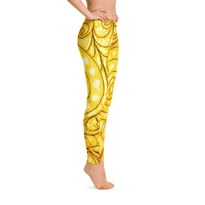 Barcelona beachstyle leggings : Señora Elena Mar Collection -Yellow - Eldragonfly Barcelona