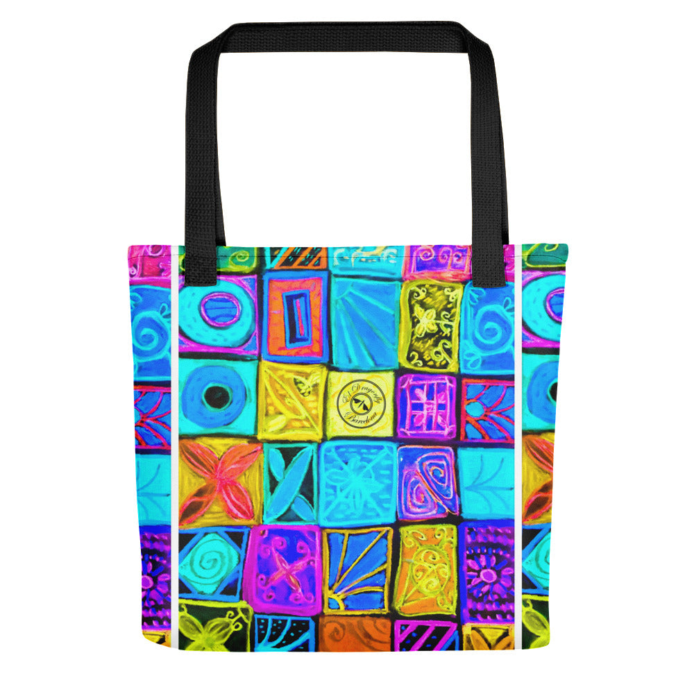 Barcelona beach bag , with mediterranean patchwork style , designed by eldragonfly Barcelona - Eldragonfly Barcelona