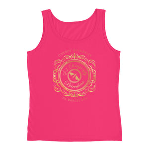 Barcelona beach style , womens tank  top , with an Eldragonfly baroque  logo print : Rafela Collection - Eldragonfly Barcelona