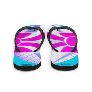 Lucia Collection:Pink , blue and white  flip flops with Barcelona festival style print : MADE TO ORDER - Eldragonfly Barcelona