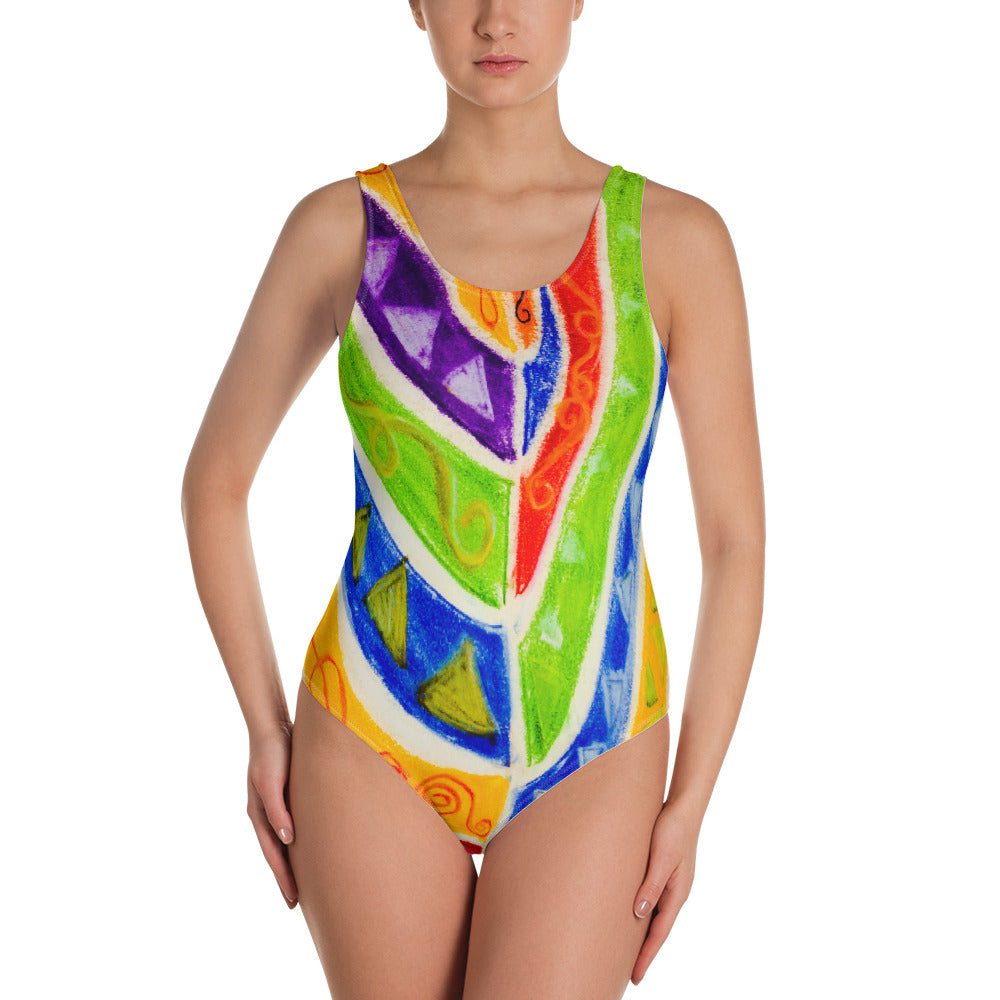Mariana Collection :Surf fashion tribal art print, womens one piece swimsuit. MADE TO ORDER - Eldragonfly Barcelona