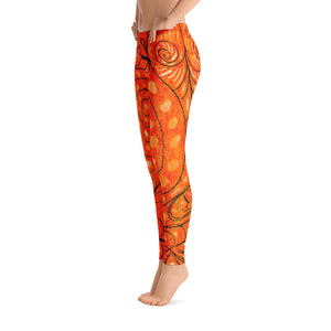 Señora Elena Mar Collection : Low waist, orange  leggings with a drawing of a mythical sea creature - Eldragonfly Barcelona