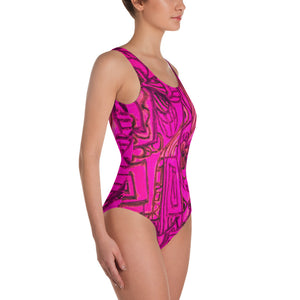 Barcelona beachstyle, Womens , one piece swim suit : Señora Perla Collection -bright pink - Eldragonfly Barcelona