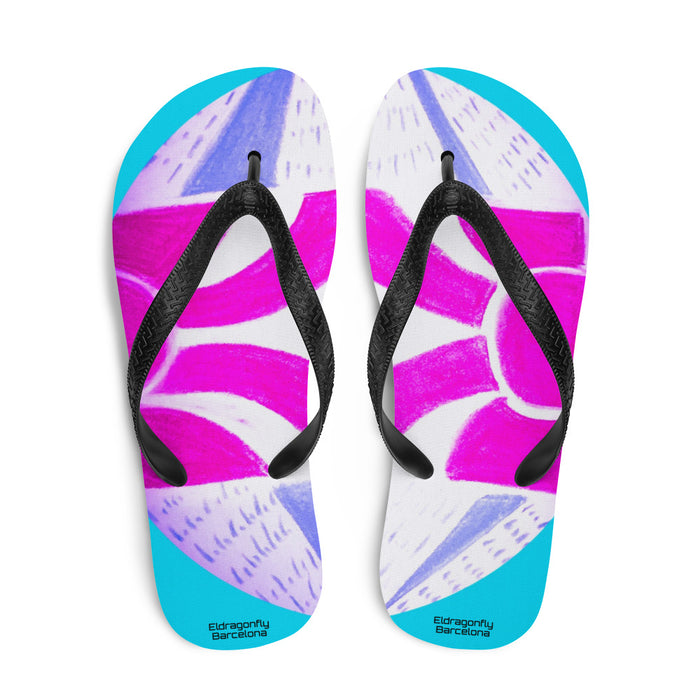 Lucia Collection: Flip flops with Barcelona festival style print : MADE TO ORDER