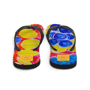 Natalina Collection: Barcelona beachstyle blue floral Flip-Flops. MADE TO ORDER - Eldragonfly Barcelona