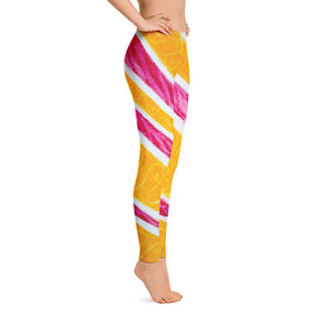Magdalena collection : Low waist orange, yellow and pink leggings . MADE TO ORDER - Eldragonfly Barcelona