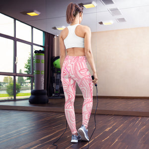 Señora Costa Collection: High waist yoga leggings, in pink grafitti fashion style. MADE TO ORDER