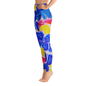 Barcelona beachfashion, womens yoga Leggings: Mediterranean flower Collection - Eldragonfly Barcelona