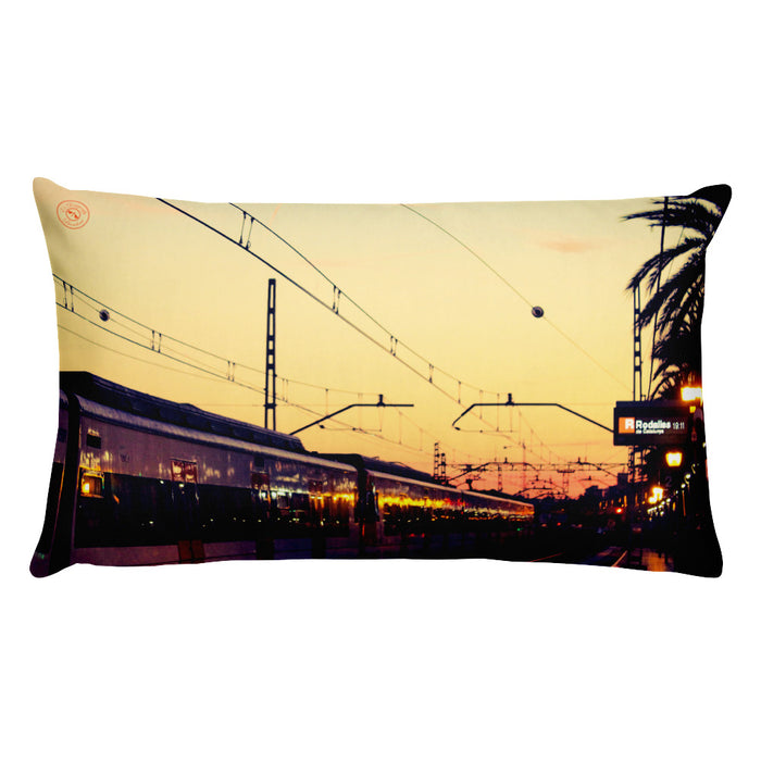 Train station sunset in Barcelona: A selection of Cushion cover´s with a Travel theme print deign. MADE TO ORDER